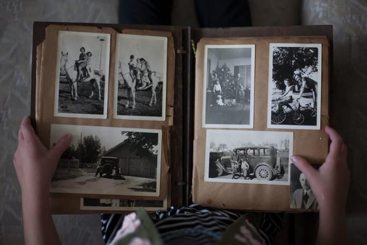 photo album of old black&white pictures