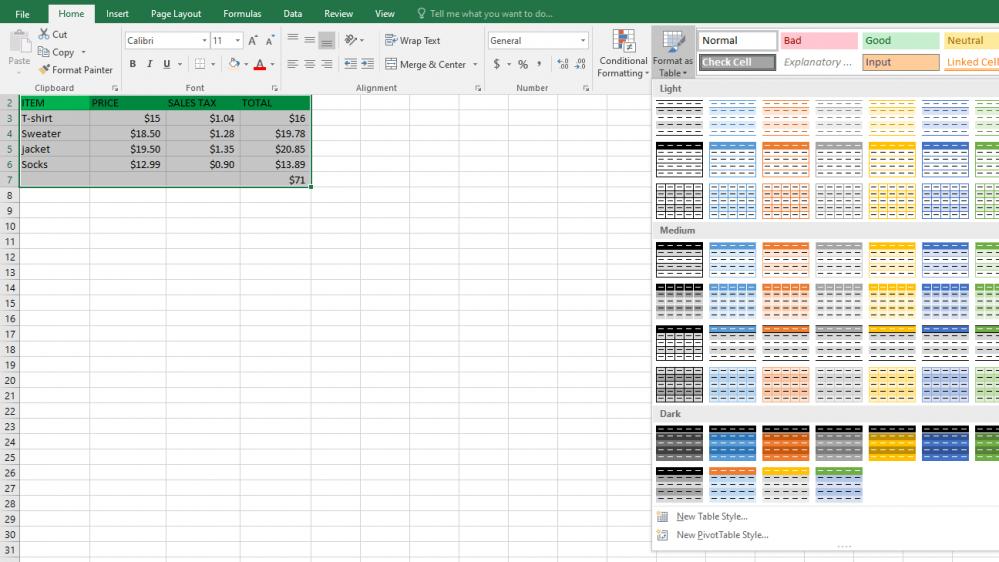 table-formatting